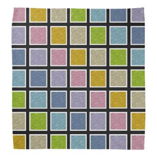 White Outlined Static Pastel Rainbow Squares Bandana