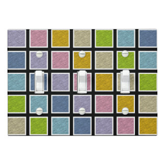 White Outlined Static Pastel Rainbow Squares Light Switch Cover