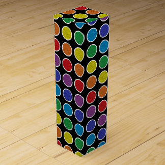 White Outlined Static Rainbow Polka Dots Wine Gift Box