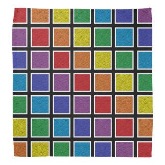 White Outlined Static Rainbow Squares Bandana