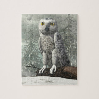 White owl - 3D render Jigsaw Puzzle