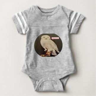 white owl drawing baby bodysuit