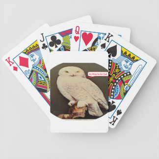 white owl drawing bicycle playing cards