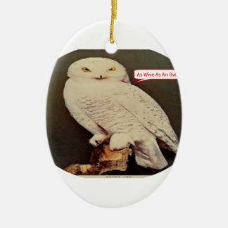 white owl drawing ceramic ornament