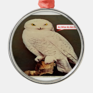 white owl drawing metal ornament