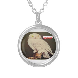 white owl drawing silver plated necklace