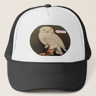 white owl drawing trucker hat