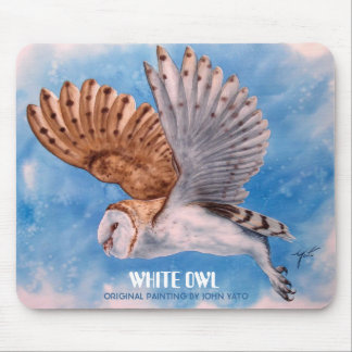 WHITE OWL IN FLIGHT MOUSE PAD