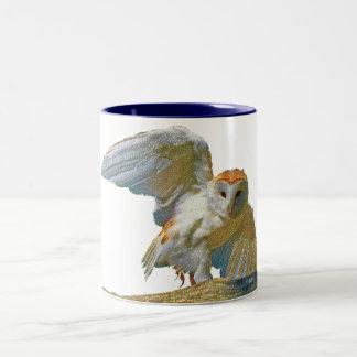 White Owl Mosaic, Two-Tone Mug