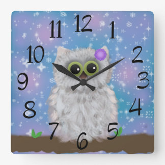 White Owl Painting on Blue Glittery / Snowy Sky Square Wall Clock