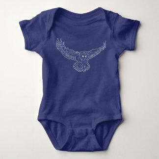 White Owl Sketch Baby Bodysuit