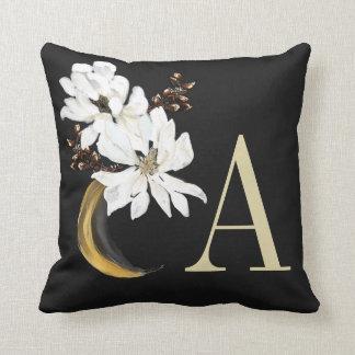 White Painted Magnolias Gold Monogram Throw Pillow