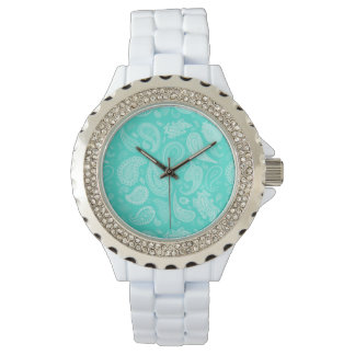 White Paisley Fashion Watch- You choose base color Wrist Watches