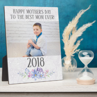 White Paisley Lace Floral Photo Mother's Day Plaque