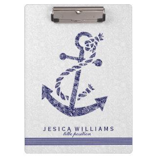 White Paisley & Navy Blue Nautical Boat Anchor Clipboard