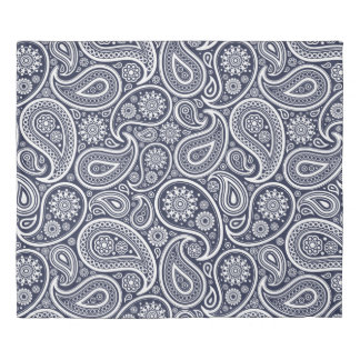 White Paisley On Changeable Blue Background Duvet Cover