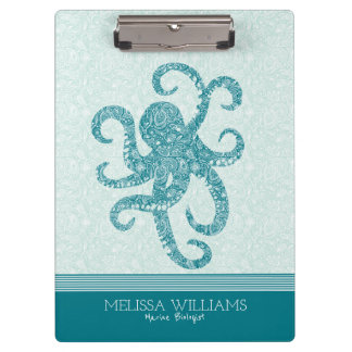 White Paisley & Turquoise Green Octopus Clipboard