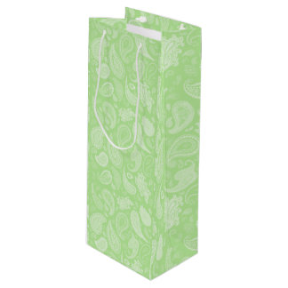 White Paisley Wine Gift Bag by Julie Everhart