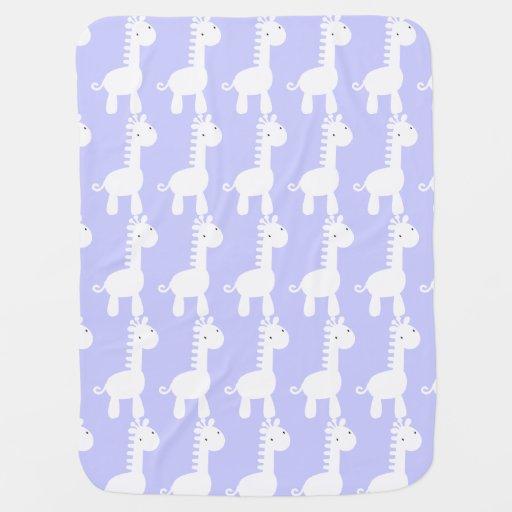 White & Pale Purple Baby Mod Giraffe Baby Blanket Stroller Blanket