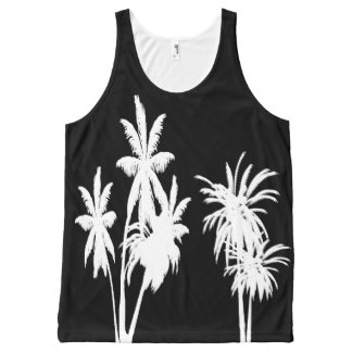 White Palm Trees Black All-Over-Print Tank Top