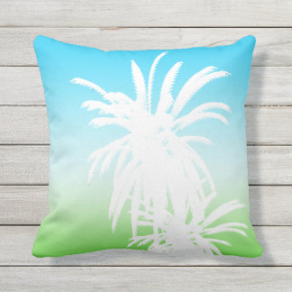 White Palm Trees Green Aqua Turquoise Fade Outdoor Pillow