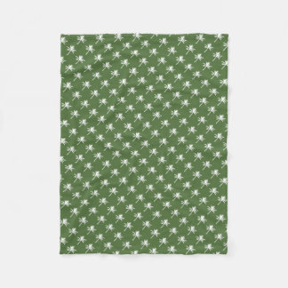 White Palm Trees Pattern Fleece Blanket