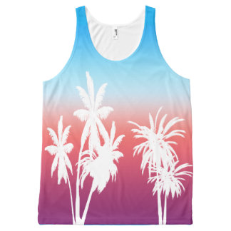 White Palm Trees Purple Haze Sunset Blue Sky All-Over-Print Tank Top
