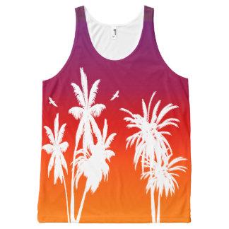 White Palm Trees Purple Tahitian Tropical Retro