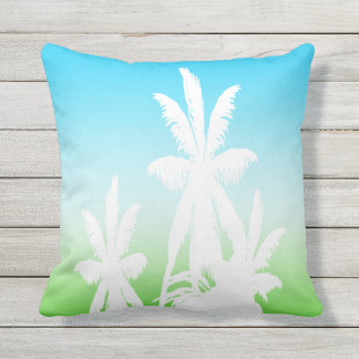 White Palm Trees Sunset Green Aqua Turquoise Fade Outdoor Pillow