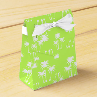 White Palms on Lime Favor Box