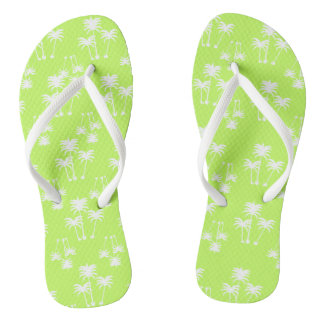 White Palms on Lime Flip Flops