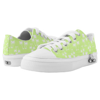 White Palms on Lime Low-Top Sneakers