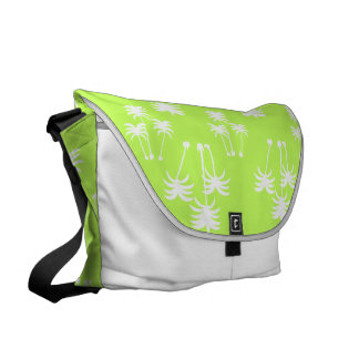 White Palms on Lime Messenger Bag