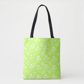 White Palms on Lime Tote Bag