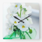 White Pansies Flowers Green Vase Floral Pansy Square Wall Clock
