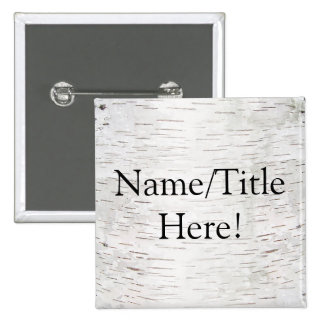 White Paper Birch Tree Bark Rustic Wood Wedding 2 Inch Square Button