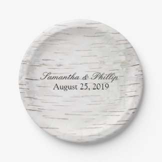 White Paper Birch Tree Bark Rustic Wood Wedding 7 Inch Paper Plate