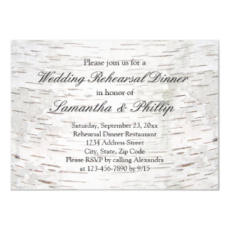 White Paper Birch Tree Bark Rustic Wood Wedding Card