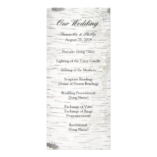 White Paper Birch Tree Bark Rustic Wood Wedding Custom Rack Card