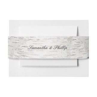 White Paper Birch Tree Bark Rustic Wood Wedding Invitation Belly Band