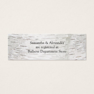 White Paper Birch Tree Bark Rustic Wood Wedding Mini Business Card