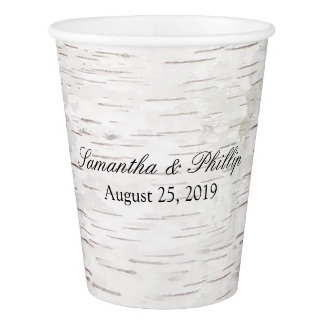 White Paper Birch Tree Bark Rustic Wood Wedding Paper Cup