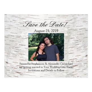 White Paper Birch Tree Bark Rustic Wood Wedding Postcard
