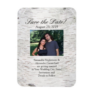 White Paper Birch Tree Bark Rustic Wood Wedding Rectangular Photo Magnet