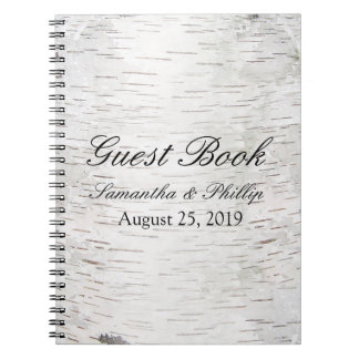 White Paper Birch Tree Bark Rustic Wood Wedding Spiral Notebooks