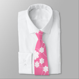 White Paper Flowers on Pink Tie