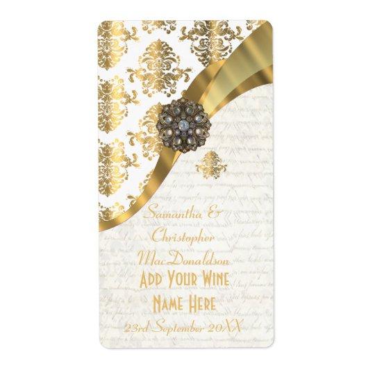 White parchment  gold damask wedding wine bottle