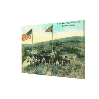 White Pass with Russian and American Flags Gallery Wrap Canvas