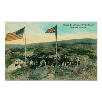 White Pass with Russian and American Flags Poster