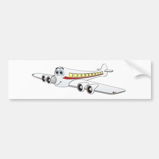 White Passenger Jet Cartoon Bumper Stickers